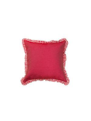 Наволочка джинсовая декоративная Бордовая с оборкой (45 см * 45 см) Семейные ценности. Цвет: бордовый, белый