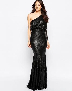 Forever Unique Платье макси на одно плечо с отделкой пайетками Tempest. Цвет: черный
