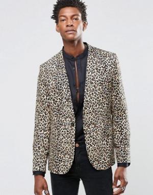 Religion Вискозный пиджак скинни с леопардовым принтом. Цвет: рыжий
