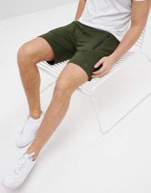 BoohooMAN Трикотажные байкерские шорты цвета хаки. Цвет: зеленый