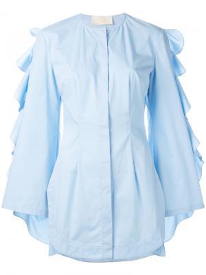 Рубашка с оборками на рукавах Sara Battaglia. Цвет: синий
