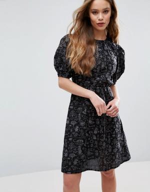 Ivana Helsinki Платье с муми-троллями Piia. Цвет: темно-синий