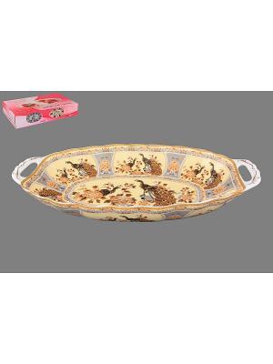 Блюдо для горячего Павлин на бежевом Elan Gallery. Цвет: бежевый, серый, коричневый