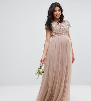 Maya Maternity Платье макси для беременных с пайетками и тюлевой юбкой. Цвет: серый