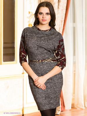 Платье МадаМ Т. Цвет: темно-бордовый, бордовый, серо-коричневый