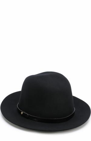 Шерстяная шляпа с кожаным ремешком Rag&Bone. Цвет: черный