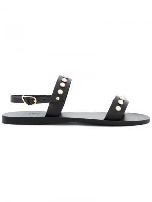 Сандалии Clio Pearls Ancient Greek Sandals. Цвет: чёрный