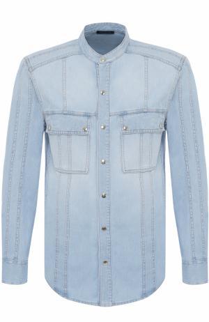 Джинсовая рубашка на кнопках с воротником-стойкой Balmain. Цвет: синий