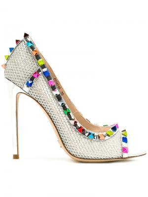 Туфли с открытым носком Gianni Renzi. Цвет: металлический