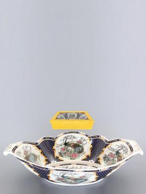 Блюдо для горячего Павлин на золоте Elan Gallery. Цвет: белый, черный, золотистый