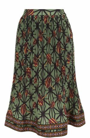 Плиссированная юбка-миди с принтом и широким поясом Stella Jean. Цвет: зеленый