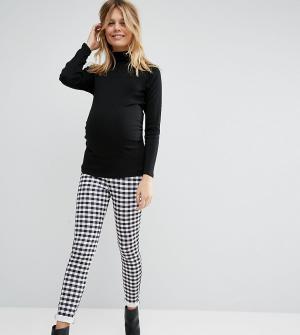 ASOS Maternity Суперузкие брюки в клеточку для беременных. Цвет: мульти