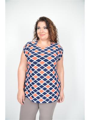 Блузка Полное счастье. Цвет: синий, оранжевый