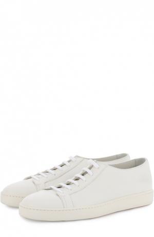 Кожаные кеды на шнуровке Santoni. Цвет: белый