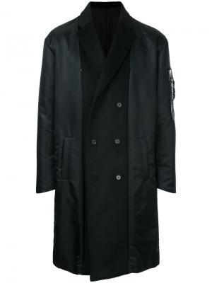 Двубортное пальто Yoshiokubo. Цвет: чёрный