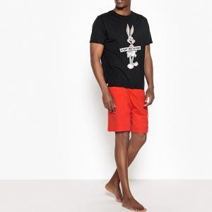 Пижама с шортами, короткими рукавами и рисунком Bugs Bunny. Цвет: черный + красный