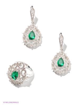 Комплект Lovely Jewelry. Цвет: зеленый, серебристый