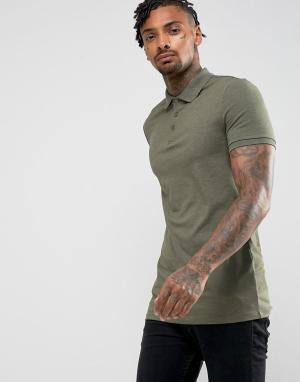 ASOS Трикотажная длинная облегающая футболка-поло. Цвет: зеленый