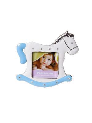 Минирамка-сувенир лошадка, голубая, украшенная стразиками, формата 6х6см PLATINUM quality. Цвет: голубой