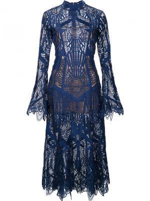 Платье с вышивкой Jonathan Simkhai. Цвет: синий