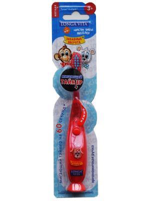 Детская зубная щётка  мигающая (с присоской), ЗАБАВНЫЕ ЗВЕРЯТА Longa Vita. Цвет: красный