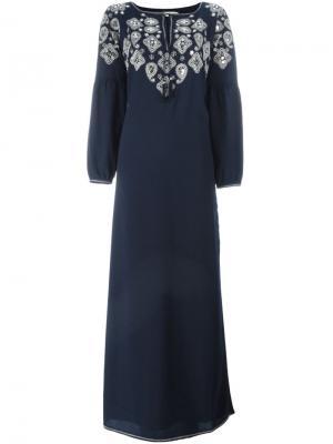 Декорированное платье-кафтан Lisette Tory Burch. Цвет: синий