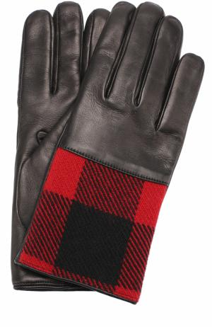 Кожаные перчатки с контрастной отделкой Dries Van Noten. Цвет: красный