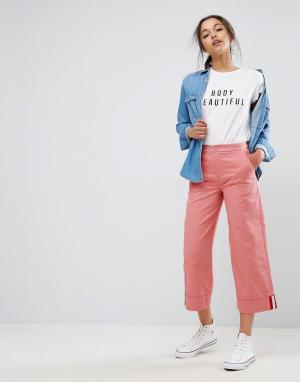 ASOS Чиносы с широкими штанинами и окантовкой в спортивном стиле. Цвет: розовый