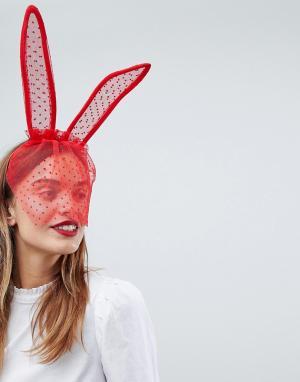 ASOS Заячьи ушки с вуалеткой Valentine. Цвет: красный