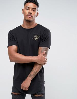 SikSilk Черная обтягивающая футболка с золотистым логотипом. Цвет: черный