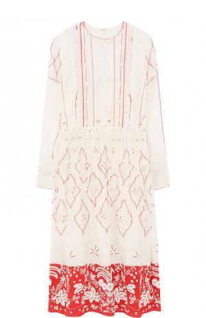 Приталенное платье-миди с длинным рукавом и вышивкой Valentino. Цвет: белый