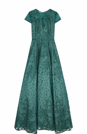 Приталенное платье-макси с коротким рукавом и вышивкой Basix Black Label. Цвет: зеленый