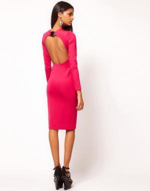 Aqua Платье-футляр с открытой спиной и пряжкой Caline. Цвет: черный