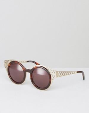 House of Holland Круглые солнцезащитные очки с вырезами. Цвет: коричневый