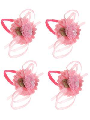 Бантики для волос на длинных резинках розочка 3 бусины, набор 2 по шт, светло-розовые Радужки. Цвет: бледно-розовый