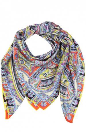 Шелковый платок с принтом Michele Binda. Цвет: желтый