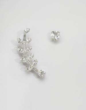 Krystal Кафф и серьга-гвоздик с кристаллами Swarovski. Цвет: серебряный