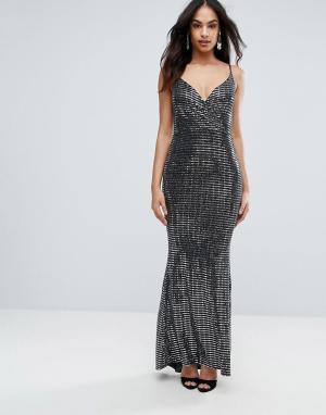 Jessica Wright Платье макси цвета металлик. Цвет: серебряный