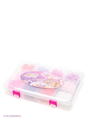 Фенечки набор из 12 цветов,1800 резинок 1toy Winx. Цвет: лиловый, бледно-розовый, розовый