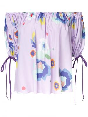 Printed off shoulder blouse G.V.G.V.. Цвет: розовый и фиолетовый