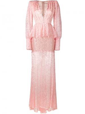 Прозрачное кружевное платье Alessandra Rich. Цвет: розовый и фиолетовый