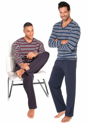 Пижама, 2 штуки LE JOGGER. Цвет: красный/черный в полоску+синий/темно-синий в полоску