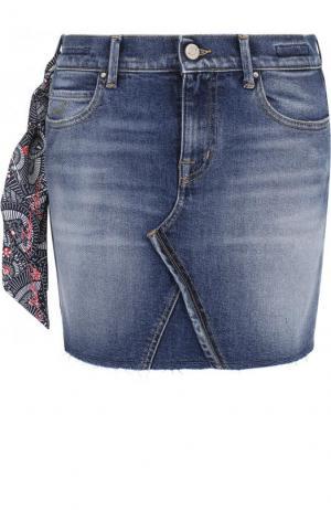 Джинсовая мини-юбка с потертостями Jacob Cohen. Цвет: синий