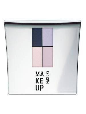 Тени для век 4-х цветные Eye Colors т№49, оттенки  светло-розовый; розовая лаванда; синий Make up factory. Цвет: темно-синий, бледно-розовый, сиреневый