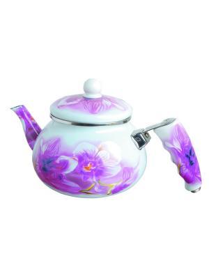 Чайник эмалированный с цветочками 2л. BOHMANN. Цвет: темно-фиолетовый, фиолетовый