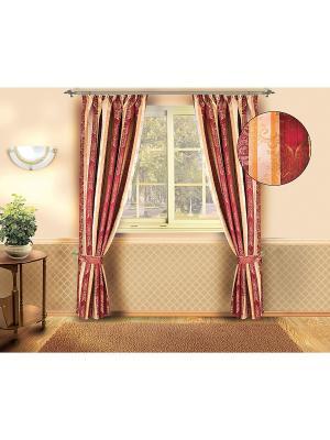 Комплект штор ZLATA KORUNKA. Цвет: бордовый, желтый