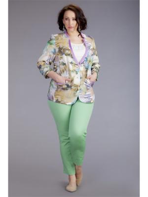 Жакет AVERI. Цвет: светло-зеленый, белый, светло-коричневый, сиреневый