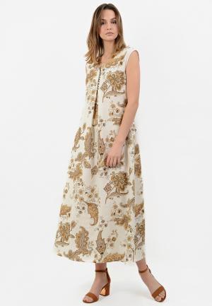 Платье Lino Russo. Цвет: бежевый