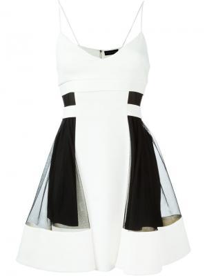 Платье с вставкой из тюля David Koma. Цвет: белый