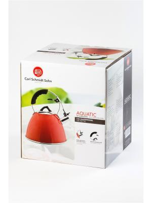 Чайник AQUATIC 3 л со свистком, из нержавеющей стали, цвет красный Carl Schmidt Sohn. Цвет: красный